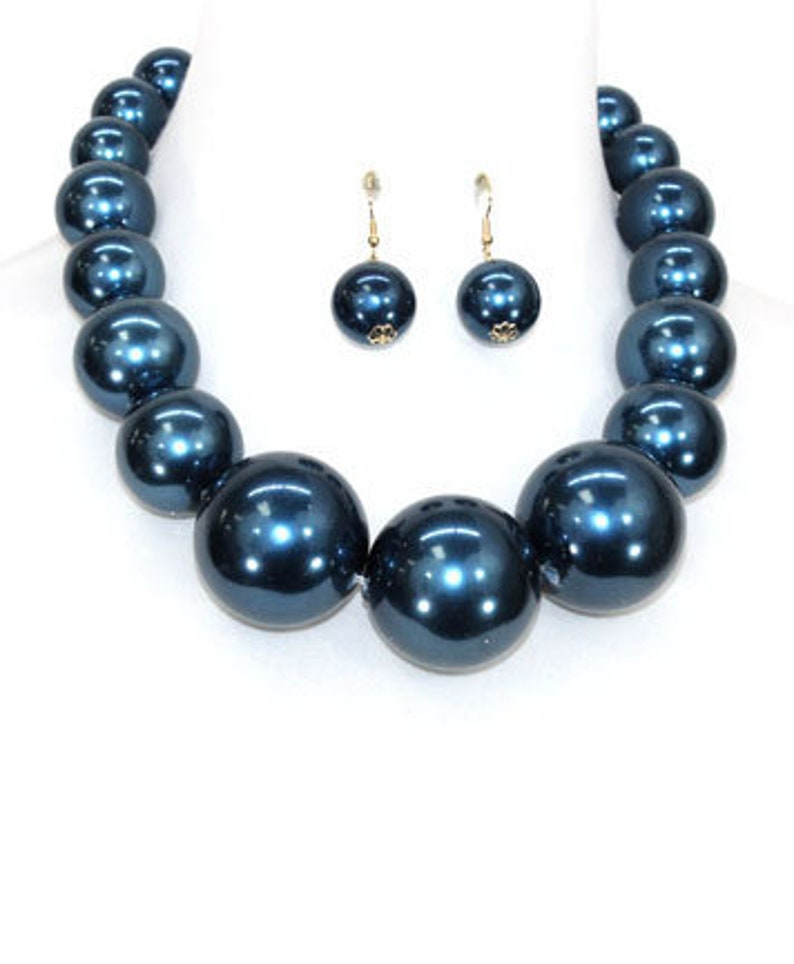 Gift for her Gift for Soror Blue Necklace Blue Plastic Pearl Necklace Set