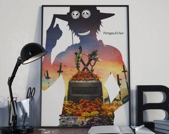 0614d25fc9c3 Monkey D Luffy Poster One Piece Anime Print Manga Wall Art One Piece Luffy  Zoro Pirates Home Decor