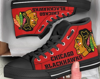 new concept 95cc6 7c2cd Chicago Blackhawks Custom Shoes Hockey Stanley Cup NHL Sneakers Blackhawks  Shoes