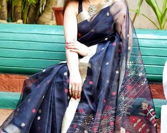 Exclusive Muslin Jamdani Saree; Multicolour Jamdnai Work; Falls And Pikko; DHL Shipping in 4 to 5 days