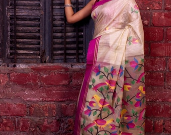 2Ply Matka Saree; Tassels in Pallu; Falls and Edging Free; DHL Shipping in 4 to 5 days