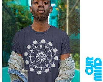 """Official MIND & MATTER PODCAST T-Shirt 04 """"Lsd Molecule Mandala"""" - Unisex Men Women (by Nick Jikomes)"""
