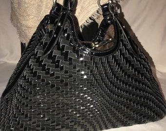 12653b9dce4b Cole Haan black woven purse shiny bag