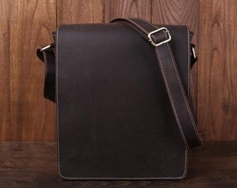 Personalized Full Grain Leather Messenger Bag For Men Vintage Leather Flapover Satchel Bag Fit 10 Laptop Crossbody Bag Christmas Gfits