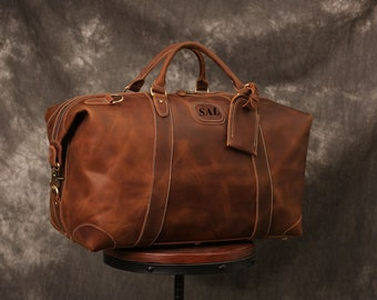 Personalized Handmade Full Grain Leather Duffle Bag, Large Travel Bag, Mens  Weekender Bag Holdall Overnight Holiday Vacation Duffel 7168c8867b