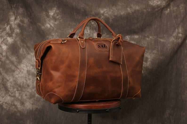 013654846cf6 Personalized Handmade Full Grain Leather Duffle Bag Large