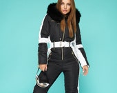 Women Ski jumpsuit black with white insert Ski overall bright Ski Winter suit Snowboarding suit Winter jacket Winter warm pants Winter suit