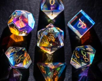 Full Set Dichroic Glass Polyhedral Dice Set Gemstone DnD Dice Set  -  Dungeons and Dragons, RPG Game DND MTG Game