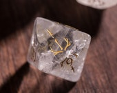 Full Set Clear Quartz Polyhedral Dice Set Gemstone DnD Dice Set - Dungeons and Dragons, RPG Game DND MTG Game Dagger Elf Topic