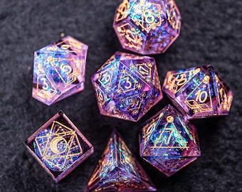 Full Set Handmade Resin Sharp Edge Dice Polyhedral Dice Set DnD Dice Set  -  Dungeons and Dragons DND Purple Glitter Astrology Style