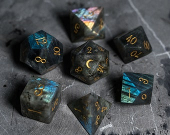 Full Set Labradorite Gemstone DnD Dice Set  - Engraved/Carving for Dungeons & Dragons, RPG Game DND MTG Game Moon Version
