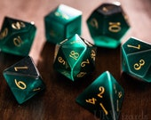 Full Set Green Cat 39 s Eye Polyhedral Dice Set Gemstone DnD Dice Set - Dungeons and Dragons, RPG Game DND MTG Game