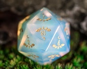 Full Set Opalite Polyhedral Dice Set Gemstone DnD Dice Set - Dungeons and Dragons, RPG Game DND MTG Game Plant Vine Style