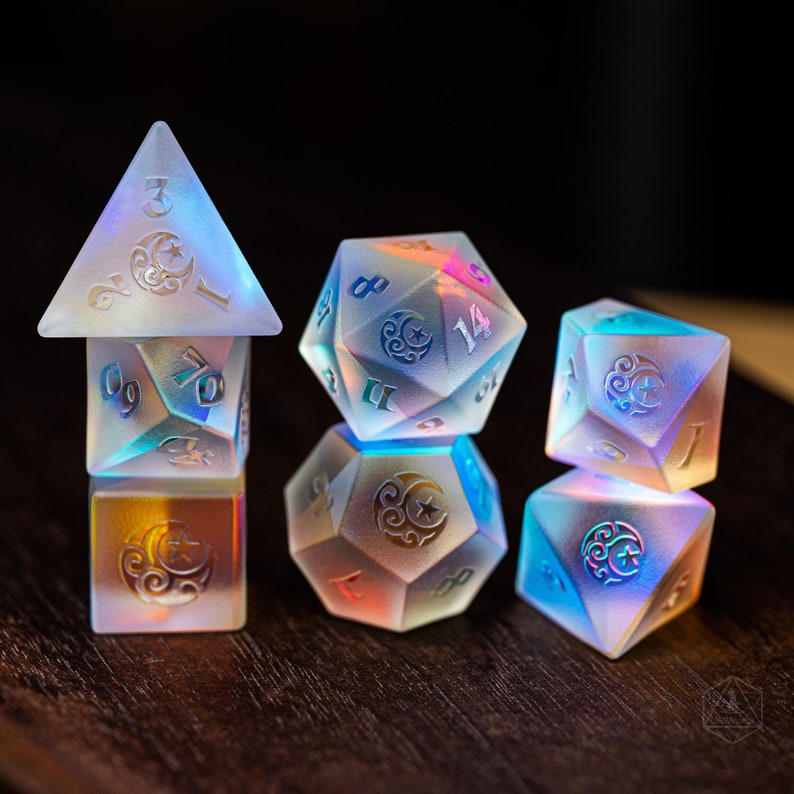 Raised Full Set Dichroic Glass Polyhedral Dice Set Gemstone