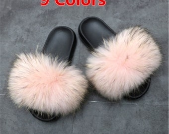 d548badf6 Womens Slides Fashional Real Raccoon Fur Slippers Summer Flat Indoor  Outdoor Sandals Beach Shoes W PVC Sole