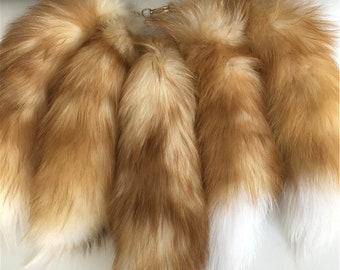 2074af65431 10pcs lot-40cm Real Genuine Crystal Fox Fur Tail Handbag Keychain Keyring  Cosplay Toy Bag Charm Tassels Pendent