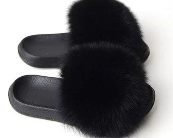bdd53ac7b Black- Womens Slippers Real Fox Fur Slides Summer Flat Indoor Outdoor Sandals  Beach Furry Shoes