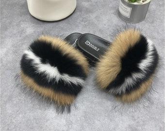 652208ec2 Silver/Natural brown- Fashional Womens Real Fox Fur Slides Slippers Summer Flat  Indoor Outdoor Sandals Beach Shoes