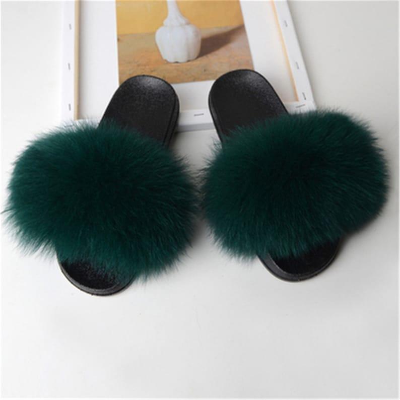 Dark Green-Womens Real Fox Fur Slides Slippers Summer Flat Indoor Outdoor Sandals Beach Furry Shoes