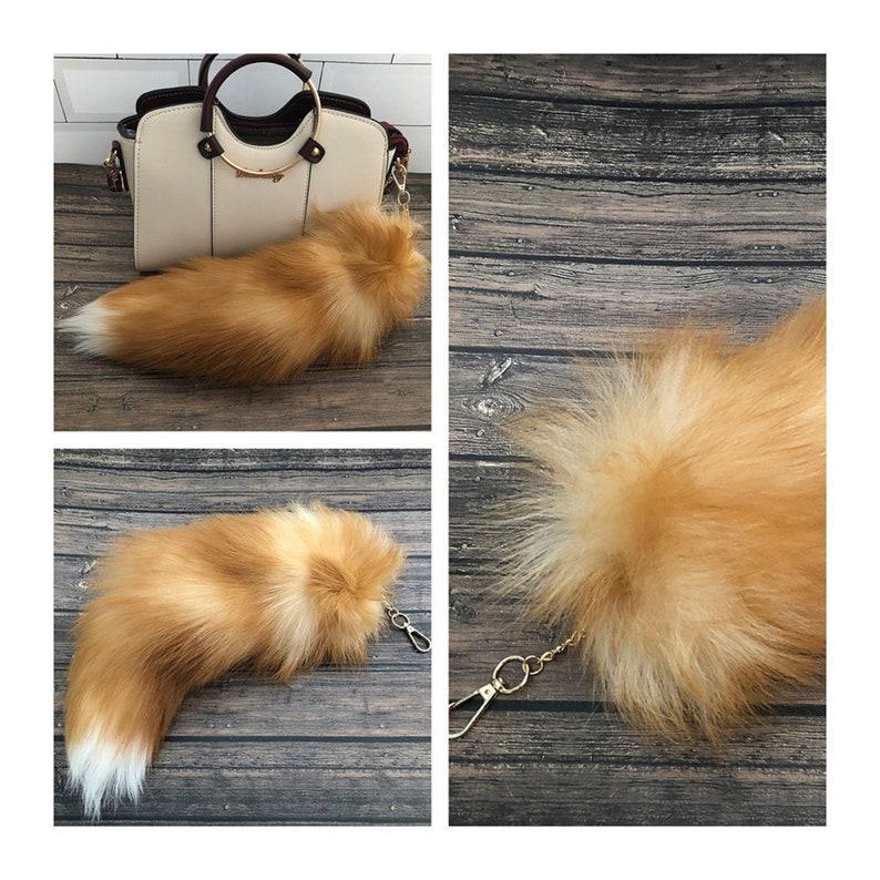 40cm16 Real Genuine Crystal Fox Fur Tail Handbag Keychain Keyring Cosplay Toy Bag Charm Tassels Pendent