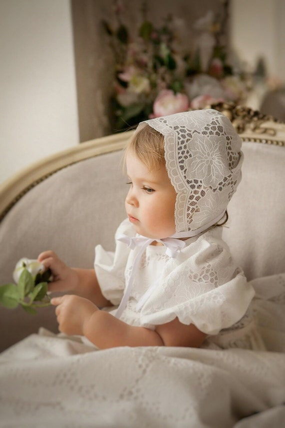 BAPTISM  CHRISTENING  BONNET SUN HAT IVORY VINTAGE LACE