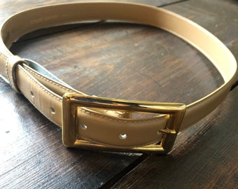 Ladies Casual Brown Belt w Rose Gold Metal Buckle and Small Applications S340