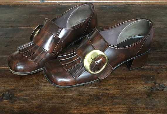 60s Grants mod fringe buckle loafers, kiltie loafe