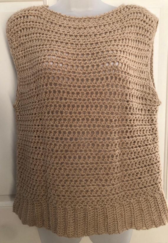70s 80s tan crochet sweater vest, boat neck sweat… - image 2