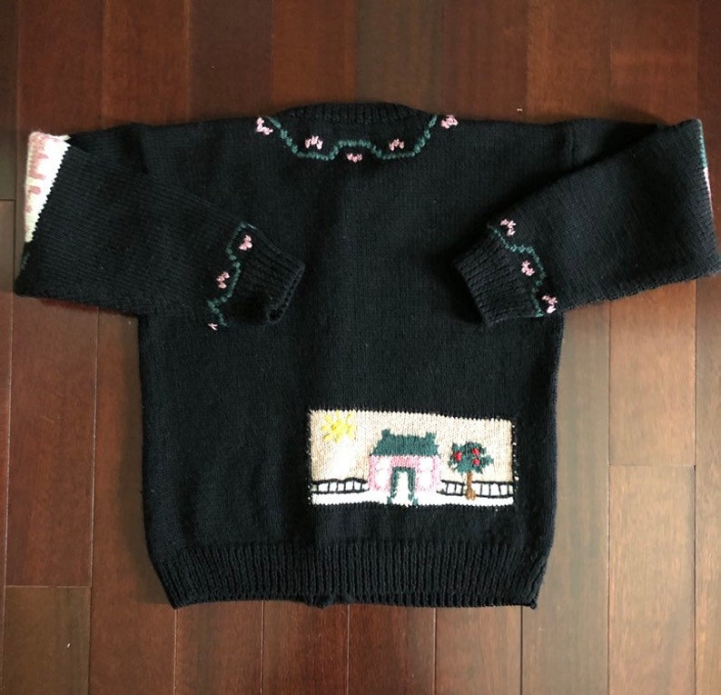 Vintage Allen Solly wool cardigan teacher sweater Mom sweater Nottingham ENGLAND black with numbers /& ABC\u2019s size M folk sweater