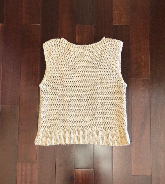 70s 80s tan crochet sweater vest, boat neck sweat… - image 1