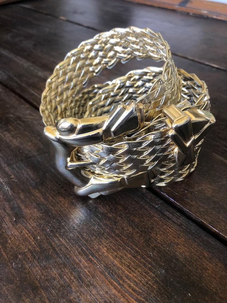 gold metal buckle gold lame belt 80s gold braided belt ladies 80s belt metallic gold belt Art Deco belt