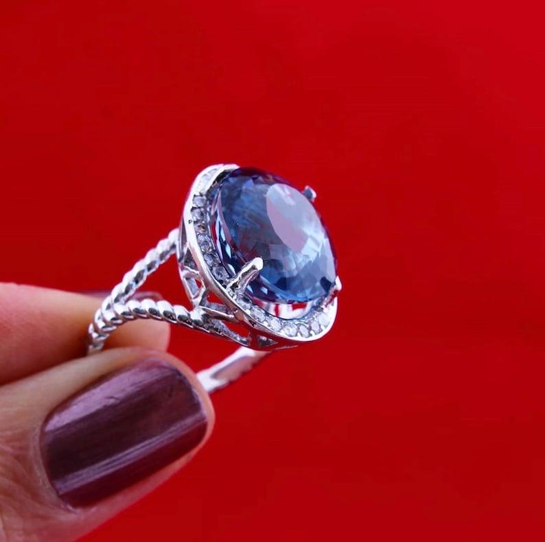 Blue Sapphire Ring \u2022 September Birthstone \u2022 Statement Ring \u2022 Gold Ring \u2022 Engagement Ring \u2022 Prong Ring \u2022 Oval Ring \u2022 Cocktail Ring