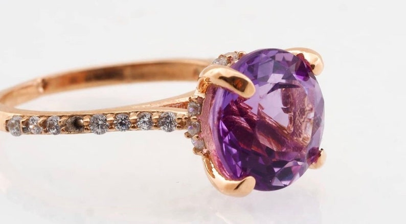Purple Gemstone Coktail Ring For Women Mother/'s Day Gift Cz Diamond Ring Amethyst Solitaire Ring With Simulant Diamonds Gemstone Ring