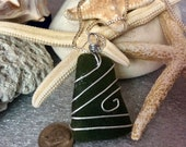 Lzrge Chunk Surf Tumble Sea Glass Pendant Naturally surf tumbled comes with chain
