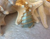 Hand Wire wrapped sea glass pendant with Neck chain. Sea Glass Gifts Surf Tumbled