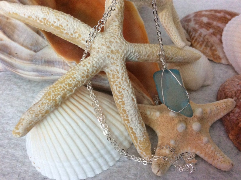 Sea Foam Blue sea glass necklace with neck chain petite  hand wire wrapped handcrafted surf tumbled sea glass