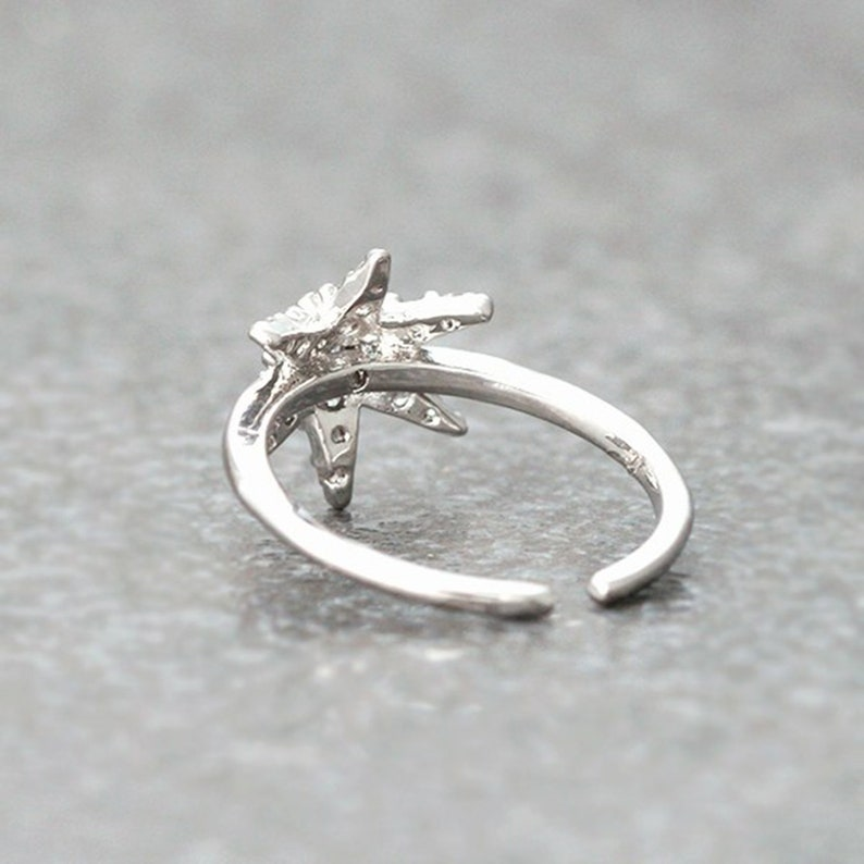 Sterling Silver* Cubic zirconia Ring* Designer Handmade jewelry* Adjustable Ring*Snowflake Midi Ring* Woman/'s Ring* Mom Gift Ring* Gift Hrt