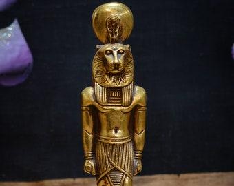 statue of Goddess Sekhmet Egyptian Art gold leaf made in Egypt