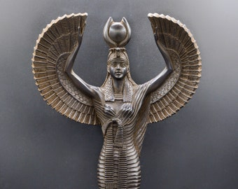 statue of Egyptian Goddess Isis opening wings of protection large black made in egypt