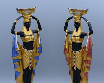 Statue of Cleopatra's Egyptian Nubian Maiden Servants with Chalice 2 style made in egypt