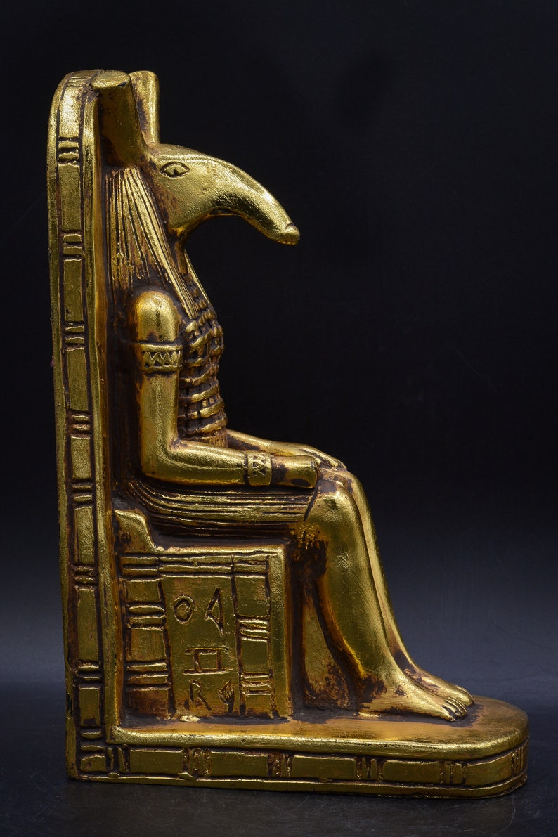 the God of Chaos Seated on Throne gold leaf made in egypt Egyptian Statue Seth