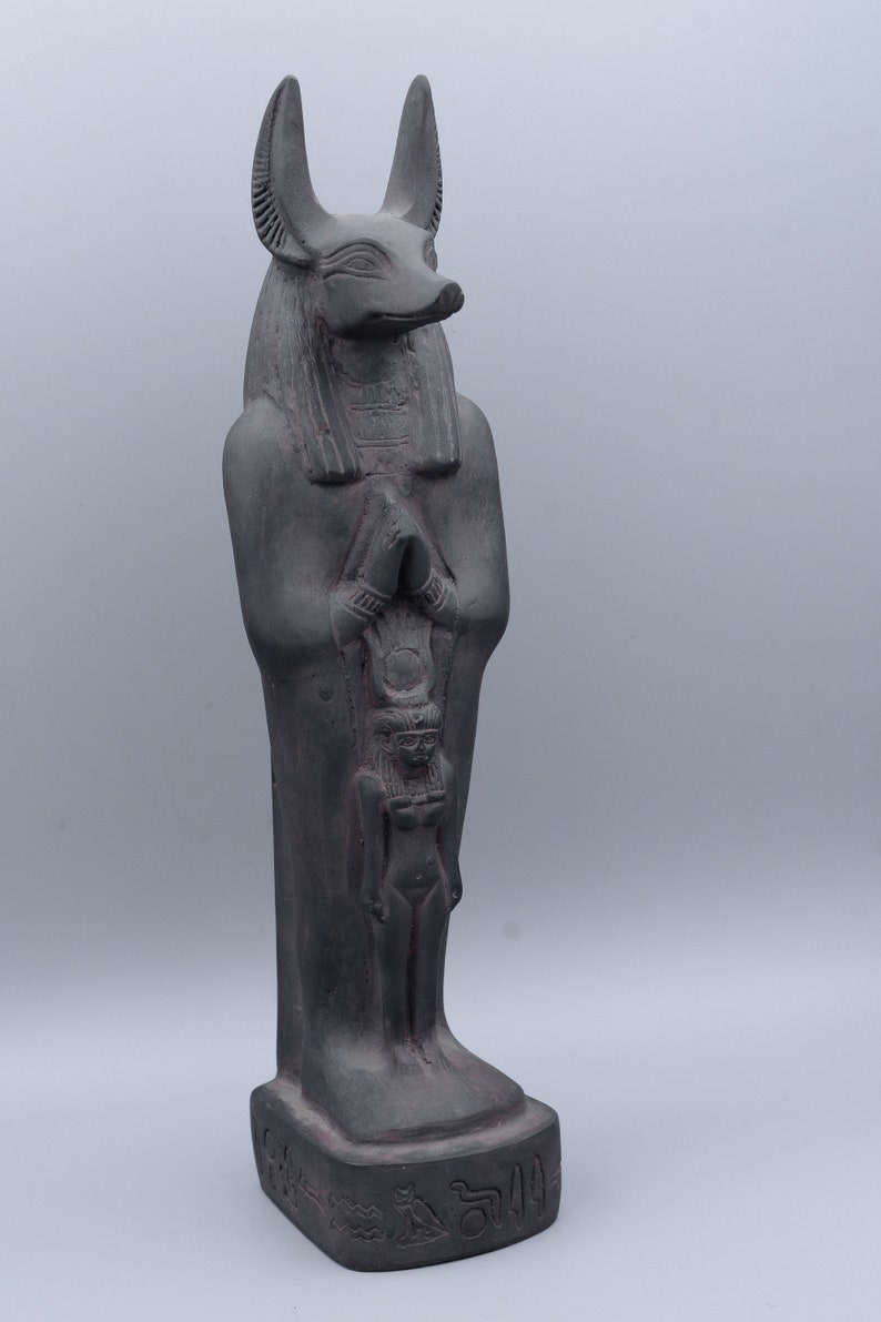 Ancient Egyptian God Anubis statue dark stone made in egypt