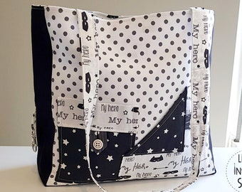 Bag tote all black and white fabric - my hero - Little Inspiring Soul - shopping bag - cotton lined bag