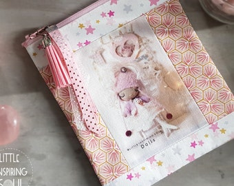 Clutch - make-up or toilet kit - princess illustrated fabric - 100% cotton - pink - princess gift - Little Inspiring Soul