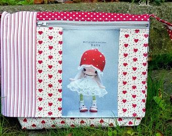 silver flap shoulder bag and red illustration mushroom princess doll - Little Inspiring Soul - gift for her - faux leather