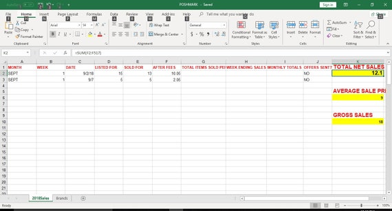 Poshmark Sales Tracker Excel Spreadsheet   Etsy