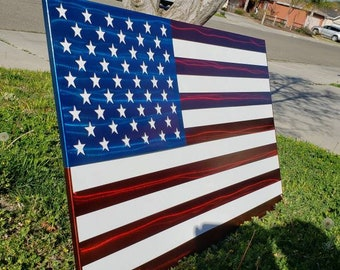 5e343e3d36b8 Metal American Flag wall art with stained wood backing