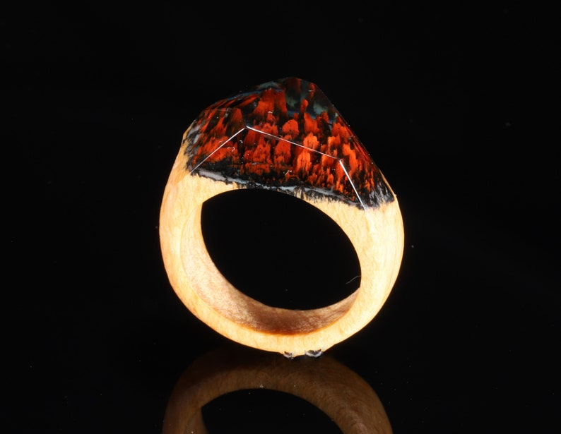 secret of wood ring Wood resin ring Red Rock ring nature inspired ring unique ring Wood and resin bohemian style Resin wood ring