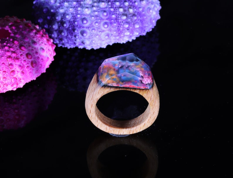 Beach wood resin ring / wood Gift for Wife image 0
