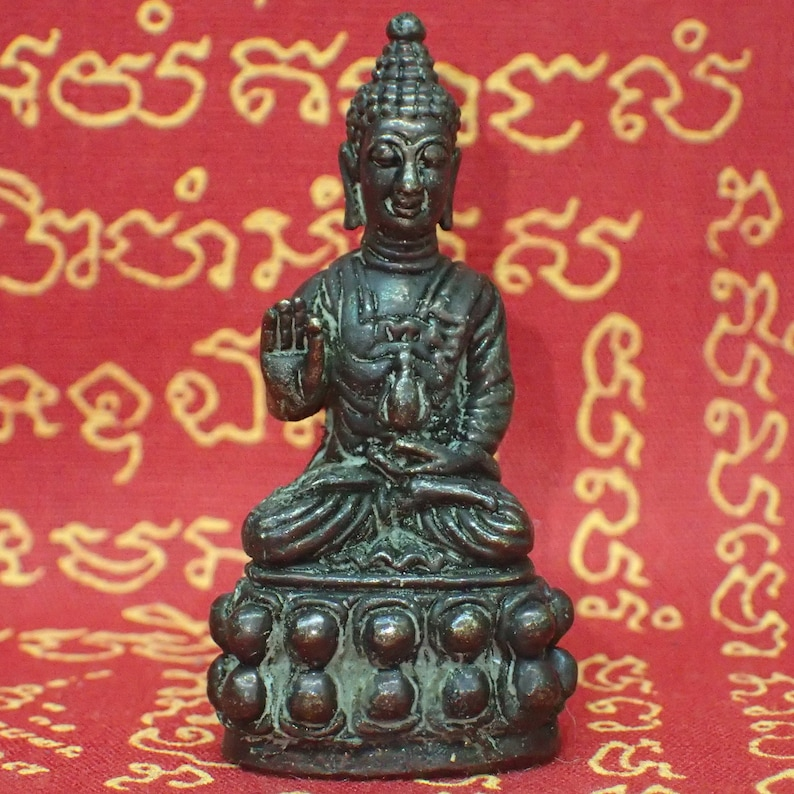 Thai BUDDHA Sitting Amulet Statue Brass Magic Luck Protection Wealth Health